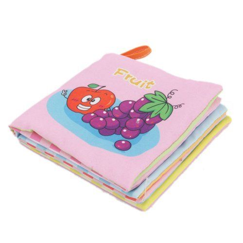 "Fabric Cloth Baby Book Fruit Type Object Recognization Best Toys For Child Learn First by Crazy Cart. $2.39. Features: 1. New and high quality 2. Stuffed by 100% polyester 3. This teether is fully safe tested by ASTM-F963 and EN71-PartI,II & III 4. Cotton book is washable and durable 5. Designed for baby recognizing wild animals 6. Each Fruit was named in english  Specifications: 1. Material: cotton, polyester 2. Size: 4.72"" x 4.92"" x 0.98""  Package includes: 1 x Fabric Book ..."