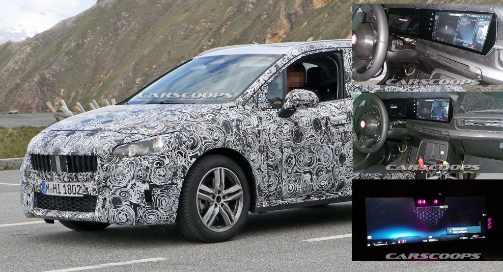 2021 Bmw 2 Series Active Tourer Minivan Shows Huge Curved Screen In New Spy Shots Carscoops In 2020 Bmw Mini Van Bmw 2