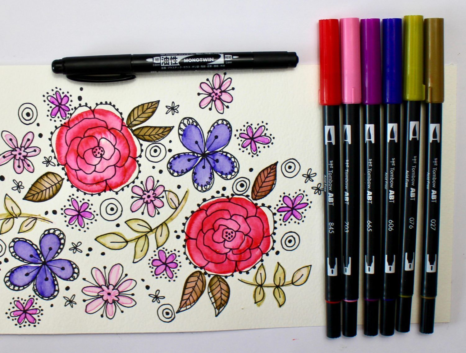 Easy Diy Watercolor Retro Flowers Brush Pen Art Watercolor