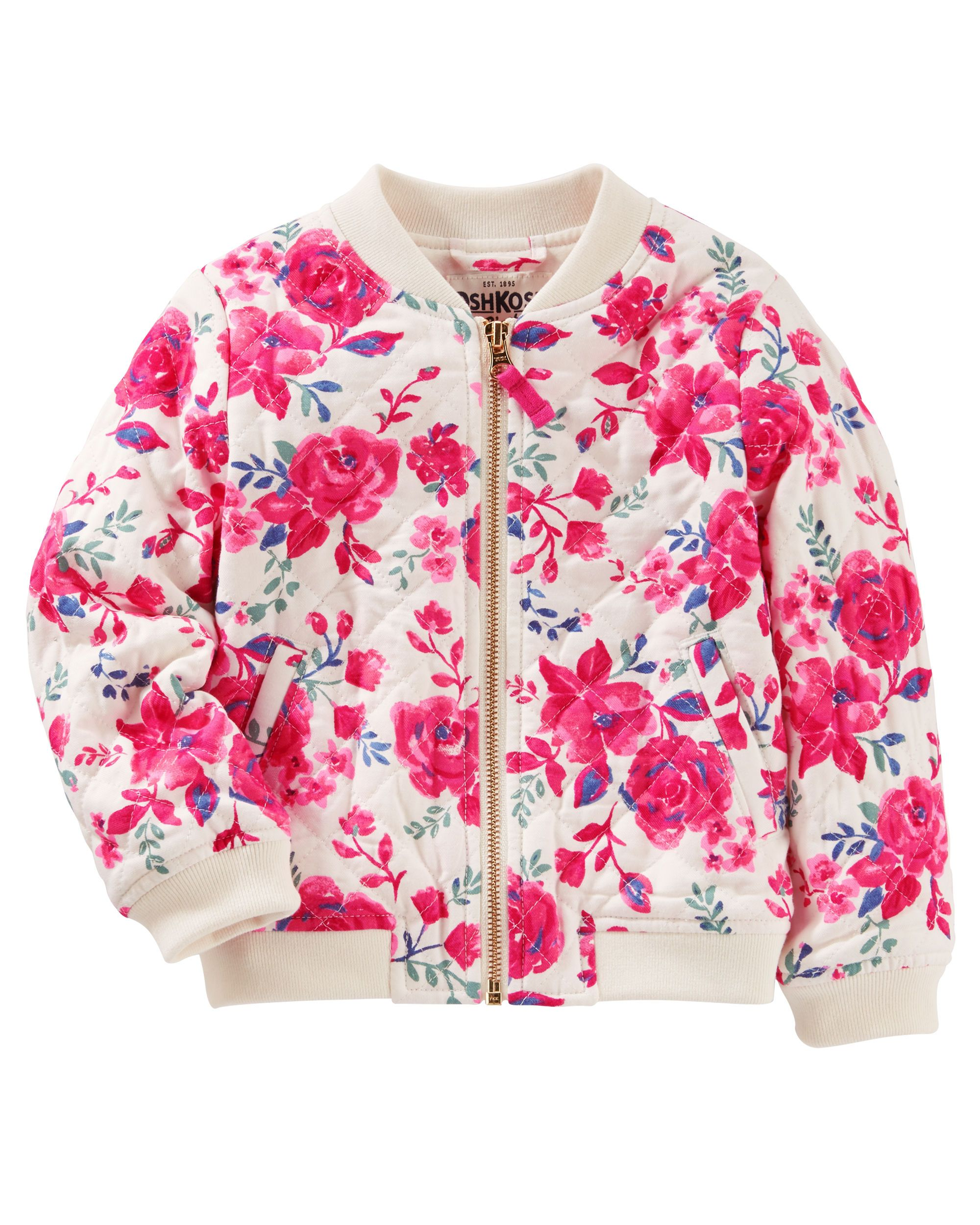 f40d29f8 Toddler Girl QUILTED FLORAL BOMBER JACKET from Carters.com. Shop clothing &  accessories from a trusted name in kids, toddlers, and baby clothes.