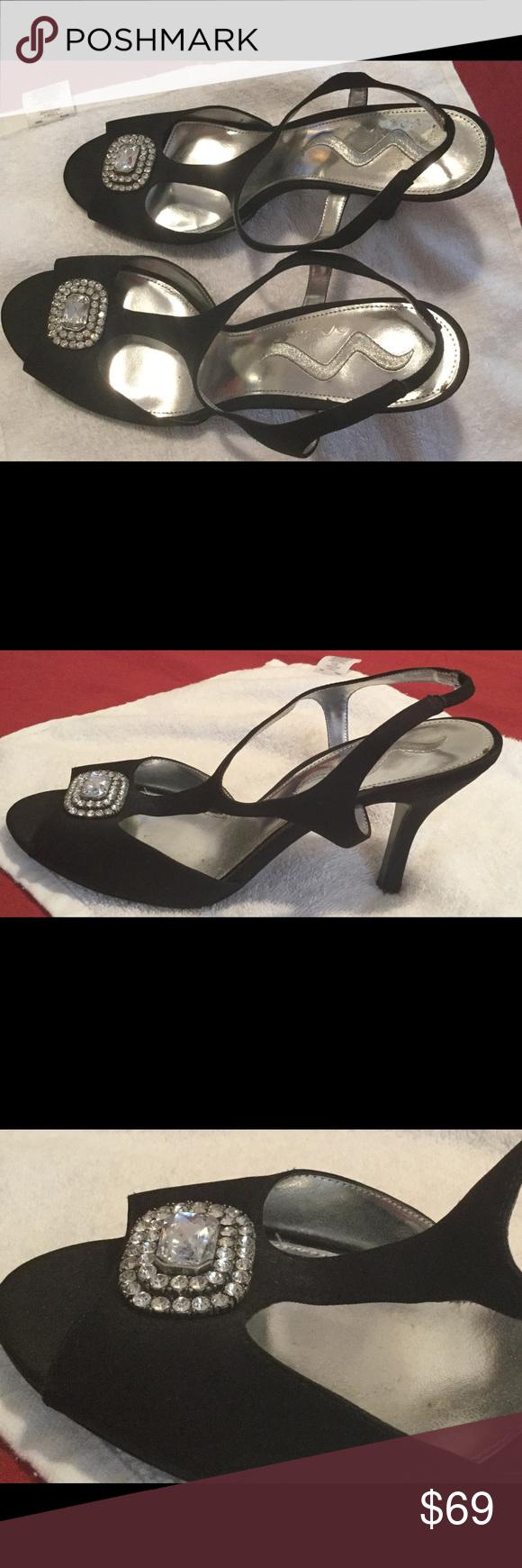Black sandals 2 inch heel - Black Satin