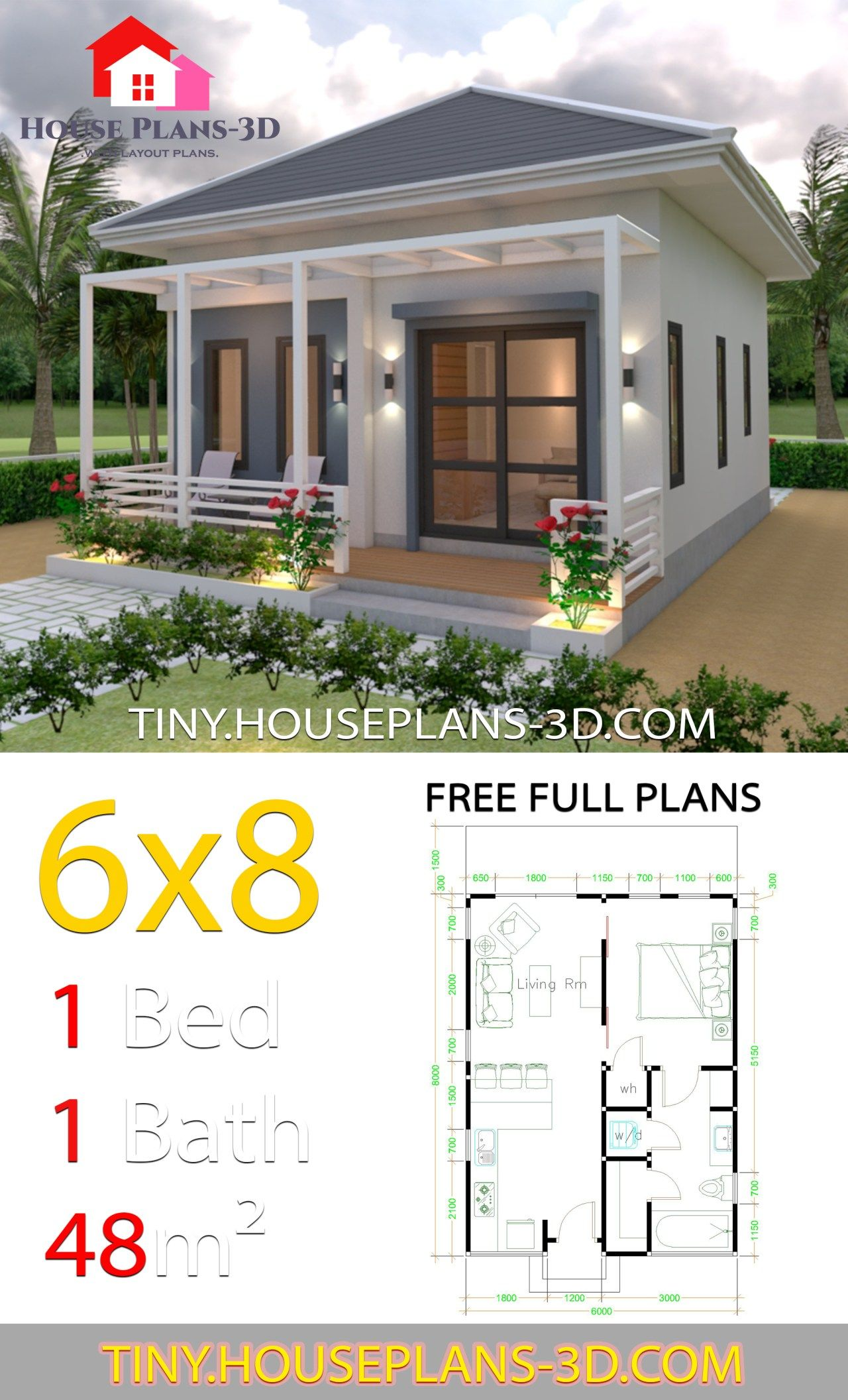 Photo of Studio House Plans 6×8 Hip Roof – Tiny House Plans