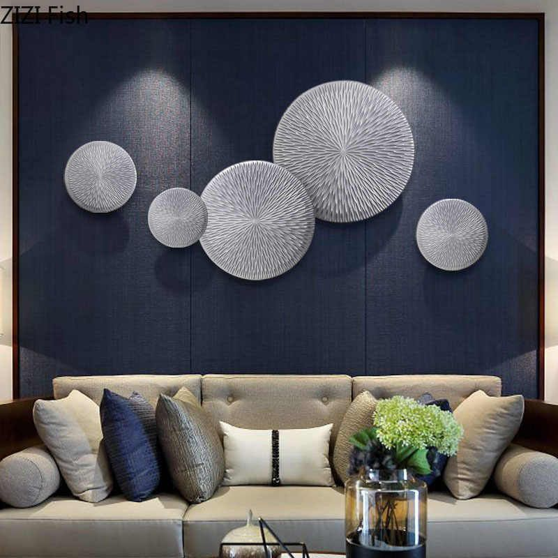 Wooden Hang Ornaments Silver Floral Texture Wall Decoration Simple Home Decor Modern Living Room Background Display Wall Hanging Wind Chimes Hanging Decoratio Living Room Background Hanging Decor Home Decor