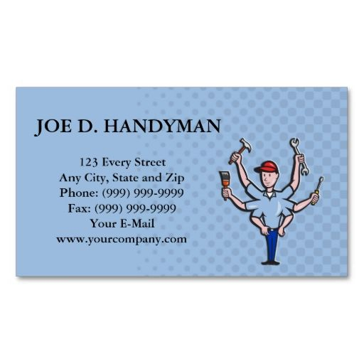 Handyman Tradesman Carpenter Mechanic Plumber Cart Business Card - Carpenter business card template