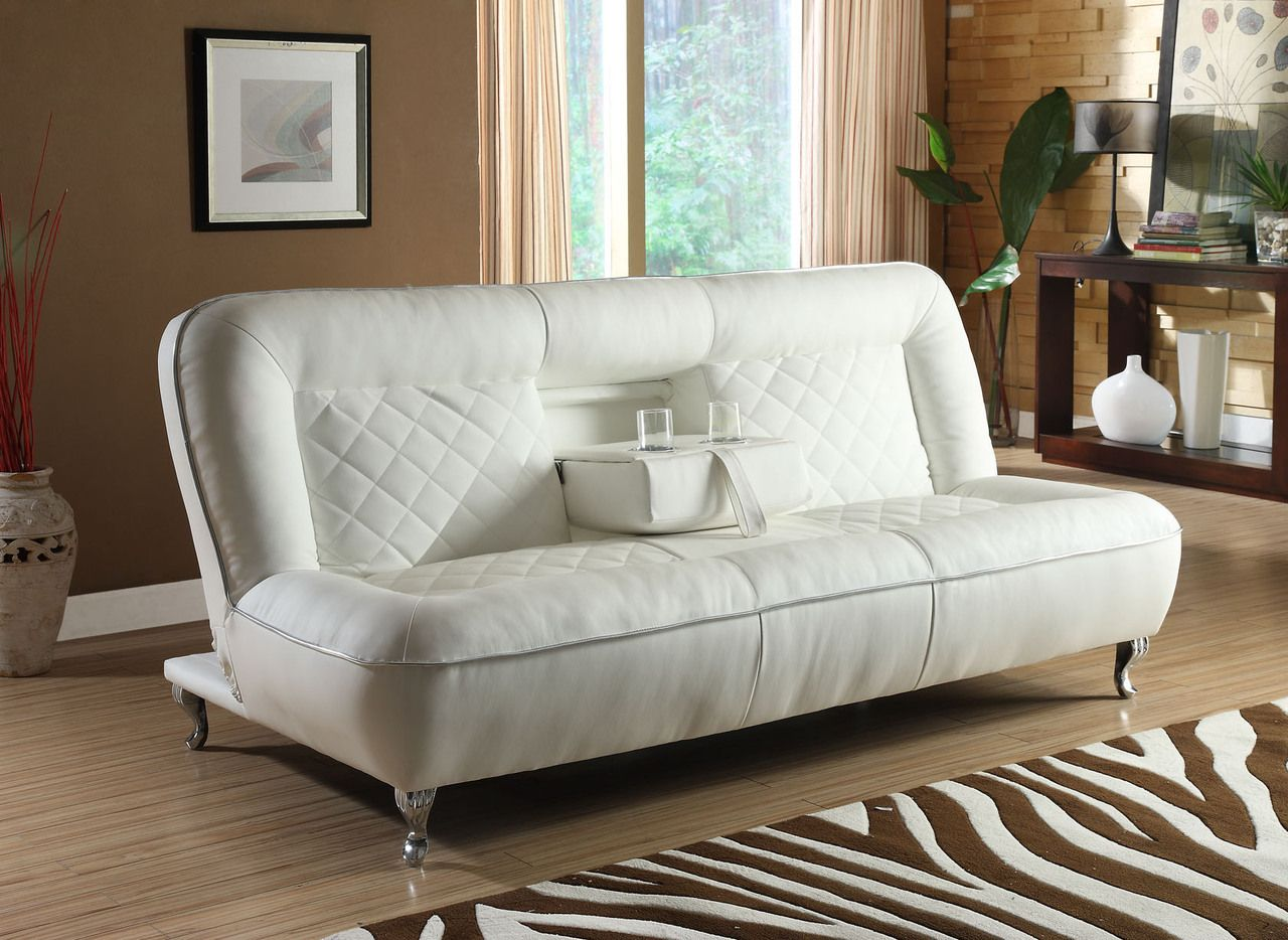 FDOC - Classic Car Seat Inspired Futon Sofa Convertible - White Faux ...