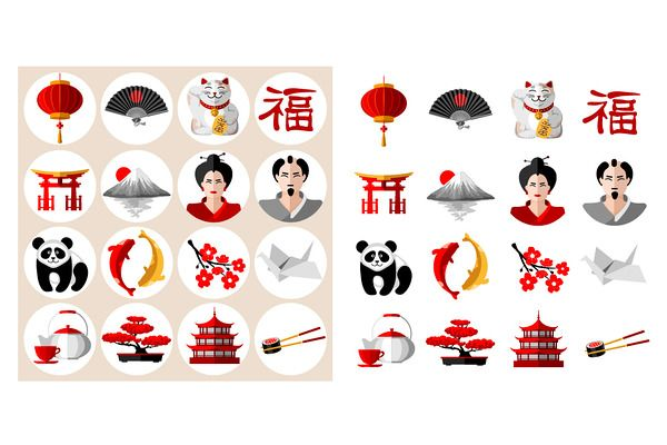 Japan icons set by Vector beauty on Creative Market