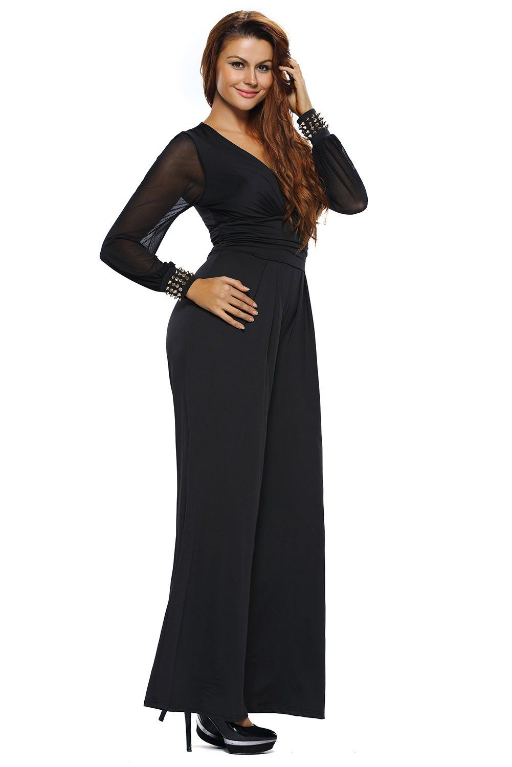 9af9b2c3dff6 Womens Embellished Cuffs Wide Leg Long Mesh Sleeves Party Cocktail Formal  Jumpsuit Rompers Pants     You can find out more details at the link of the  image.
