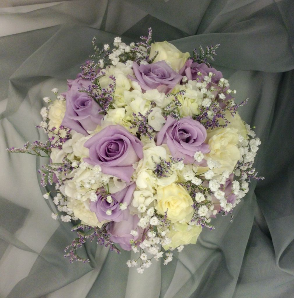 lavender and white bridal bouquet with hydrangeas roses limonium and babies breath by nancy at. Black Bedroom Furniture Sets. Home Design Ideas