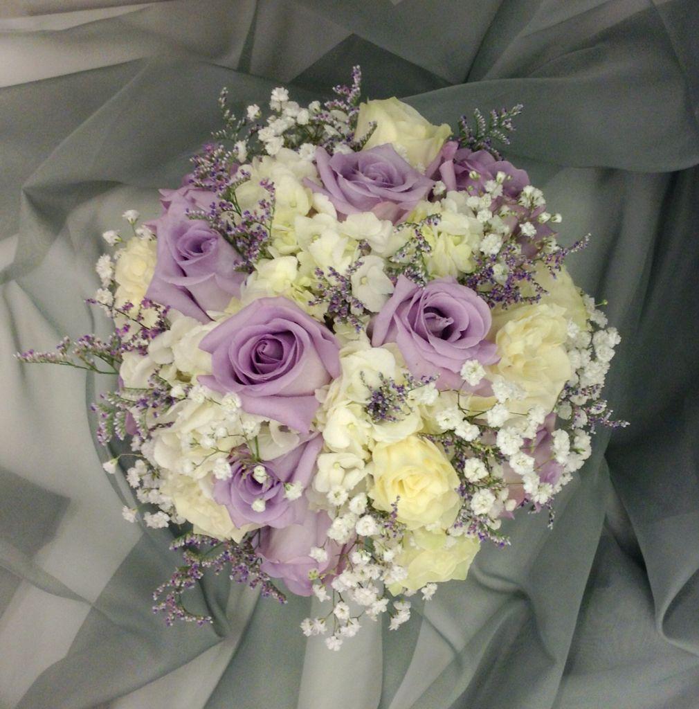 Lavender And White Bridal Bouquet With Hydrangeas Roses Limonium