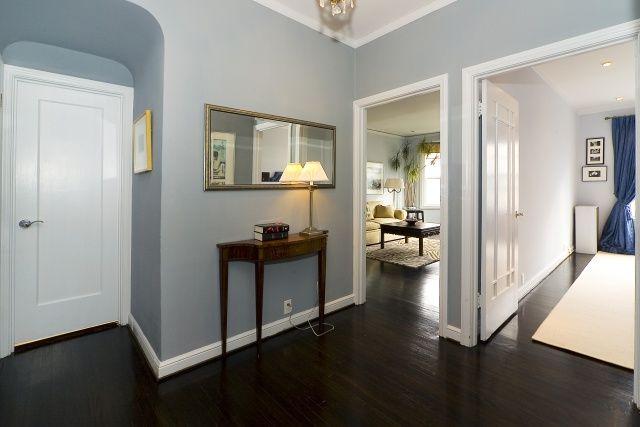 Dark wood floor foyer with my favorite blue paint ...