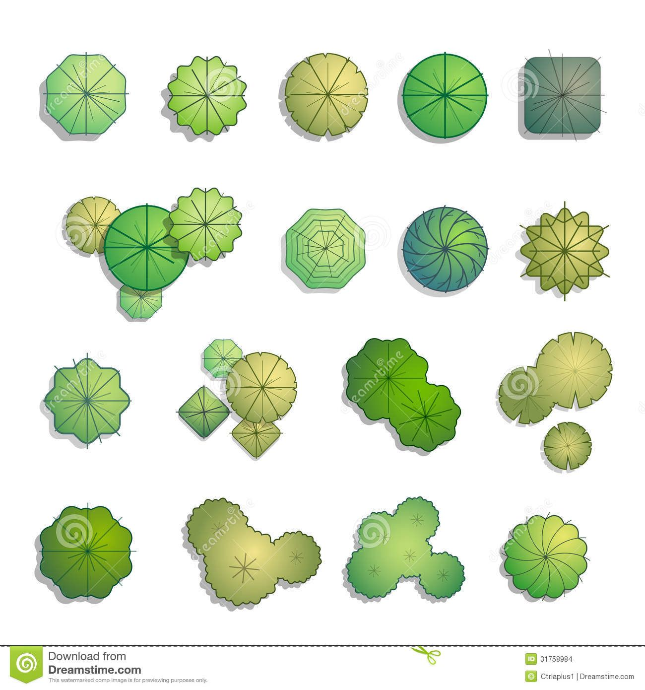 Shrub Graphic Symbols Diagram Sea Doo Jet Ski Parts Landscape Design Rendering Trees Top View For