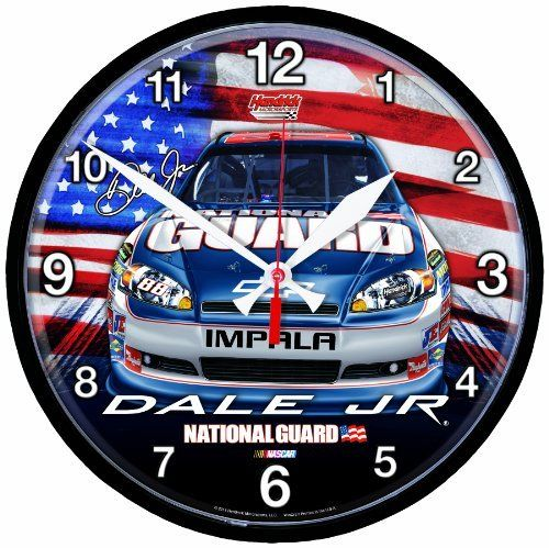 "NASCAR Dale Earnhardt Jr Round Clock by WinCraft. $24.99. Officially licensed wall clock. Great for any room. High quality quartz movement with a sweep second hand. Molded plastic construction with built in hanger. Requires one (AA) battery (not included). Measures 12.75"" in diameter. Made in USA."