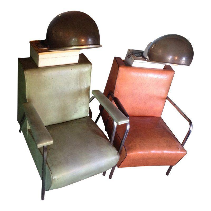Vintage Salon Bubble Dryer Chairs A Pair Vintage Salon Chair Vintage