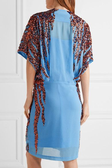 Summi Sequin-embellished Chiffon Mini Dress - Light blue By Malene Birger 4hJa1Q