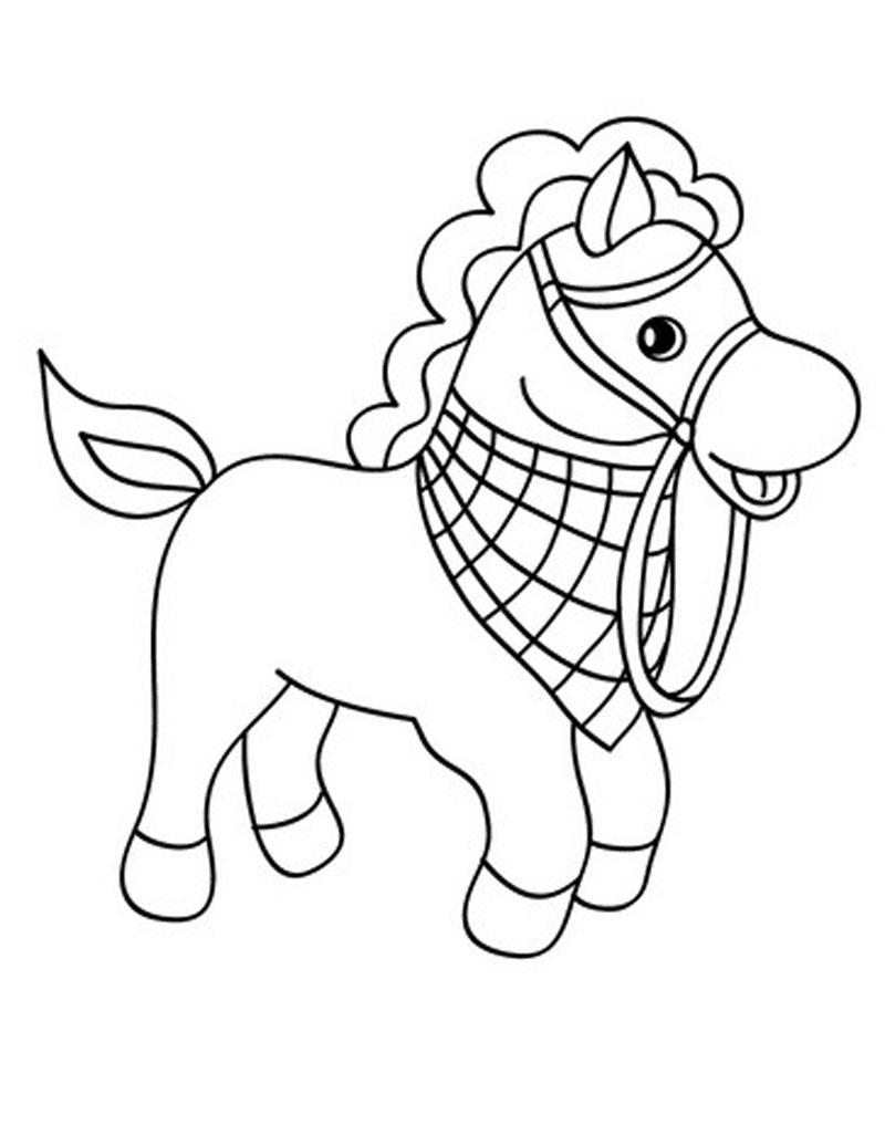 Gambar Mewarnai Kuda Poni 2 Cupcake Lucu Farm Animal Coloring