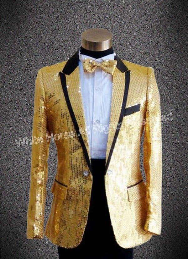 White prom dress with gold sequins jackets