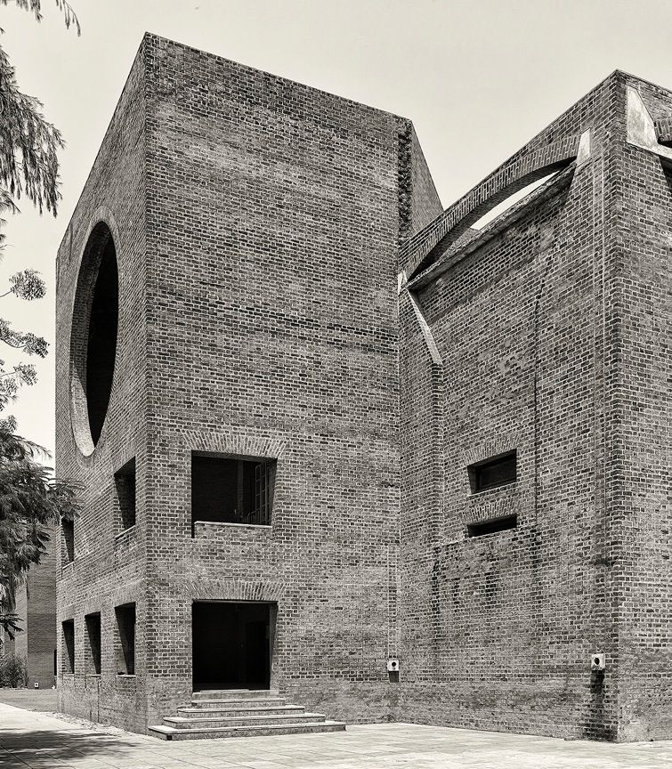 """Indian Institute of Management in Ahmedabad, India. Louis Kahn. 1962-74.  """"I am a very strict believer in Louis Kahn's architecture – its arches, recessed windows, and brickwork. His work inspired the look of this campus. We are putting something out there for generations. You have to have integrity,"""" - James Langabeer, UTPA VP for Business 1988-2010"""