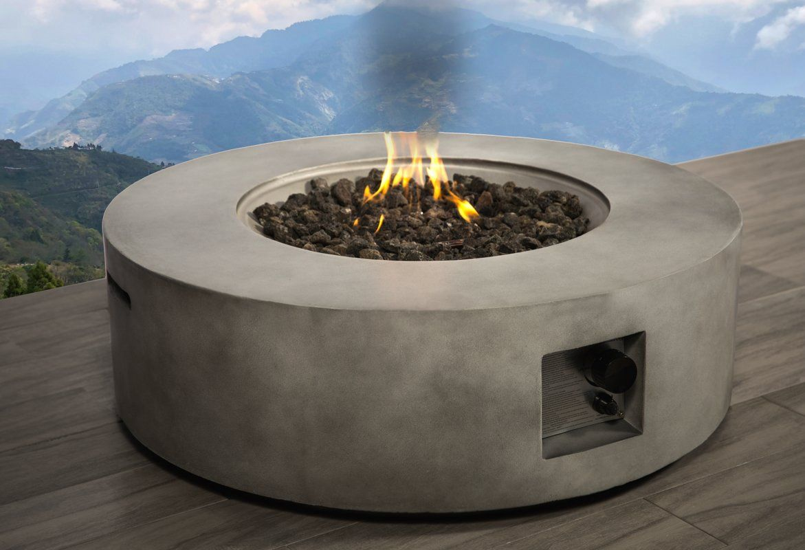 Santiago concrete propane natural gas fire pit table in
