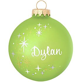 personalized lime-green star-swirl ornament $10.99 #personalized #lime #green #star #ornament #Christmas #BronnersChristmasWonderland #Bronners