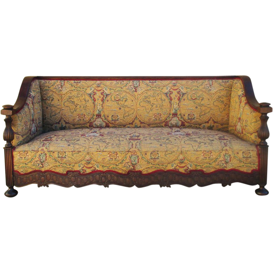 English Antique Pub Style World Map Sofa Couch Antique