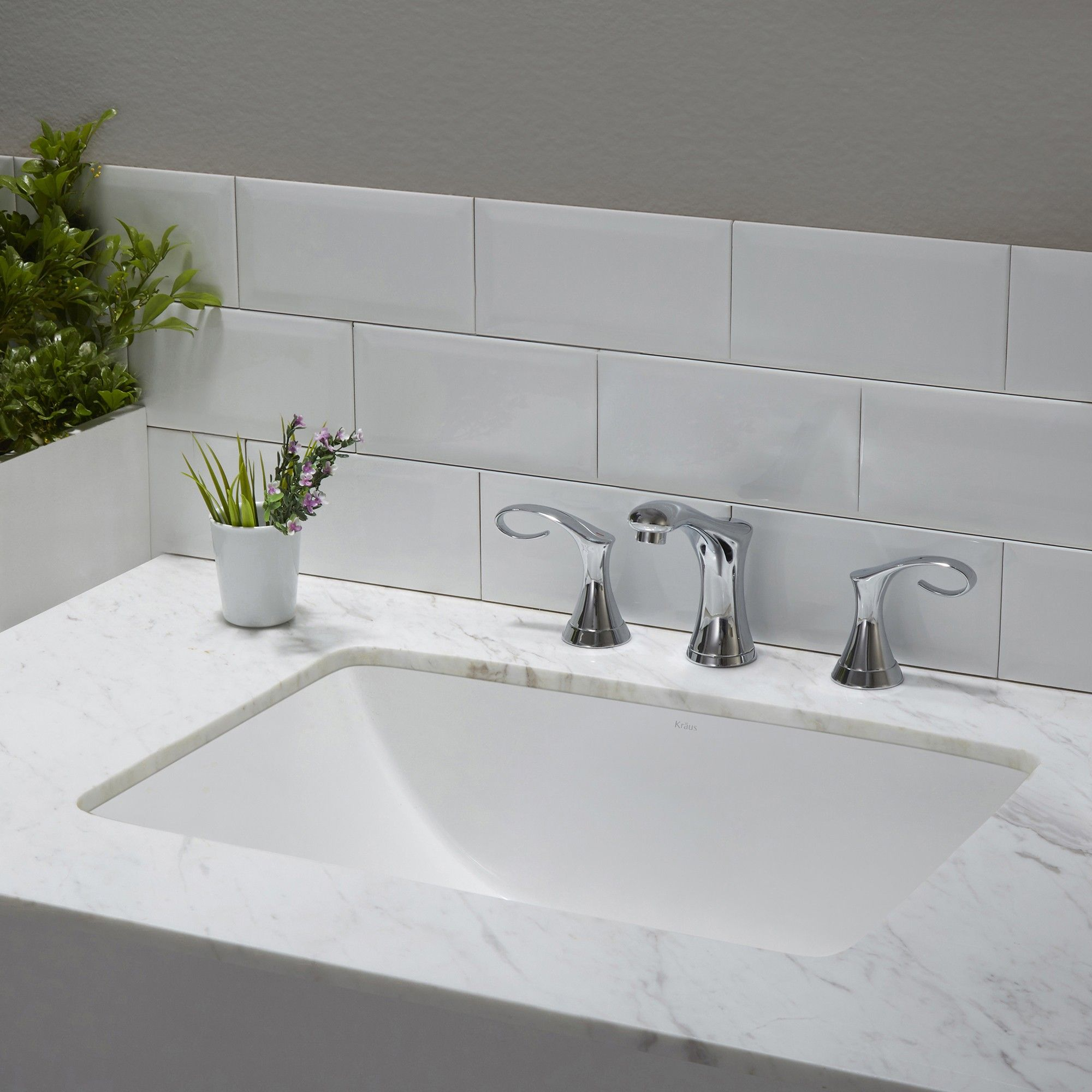 Elavo White Ceramic Large Rectangular Undermount Bathroom Sink W Overflow Sinks Kraususa