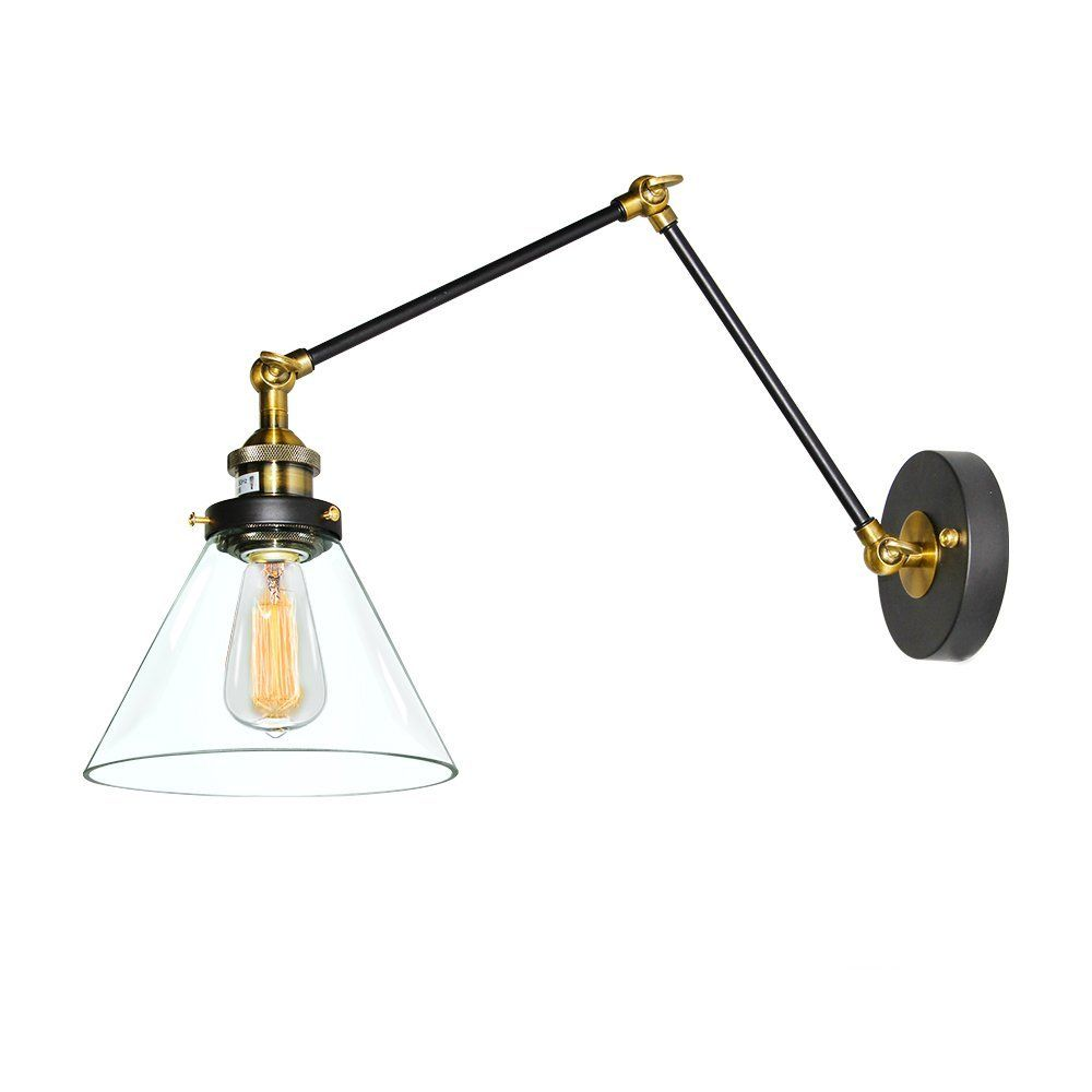 plug in industrial lighting. LNC Plug-in Wall Sconce, Clear Glass Shade Swing Arm Lamp - Plug In Industrial Lighting