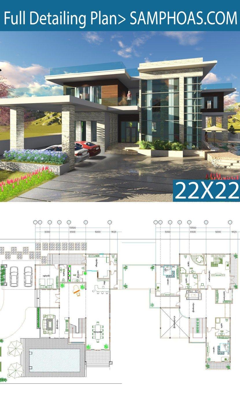 4 Bedroom Modern Villa Design Size 15 5x22 4m Samphoas Plan Villa Design Modern Villa Design Architectural House Plans