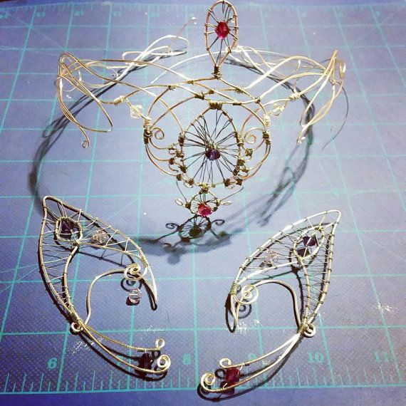 Fashion Fairy Silver Wire Tiara and Ear Cuffs for a Halloween Costume by Nobélitta