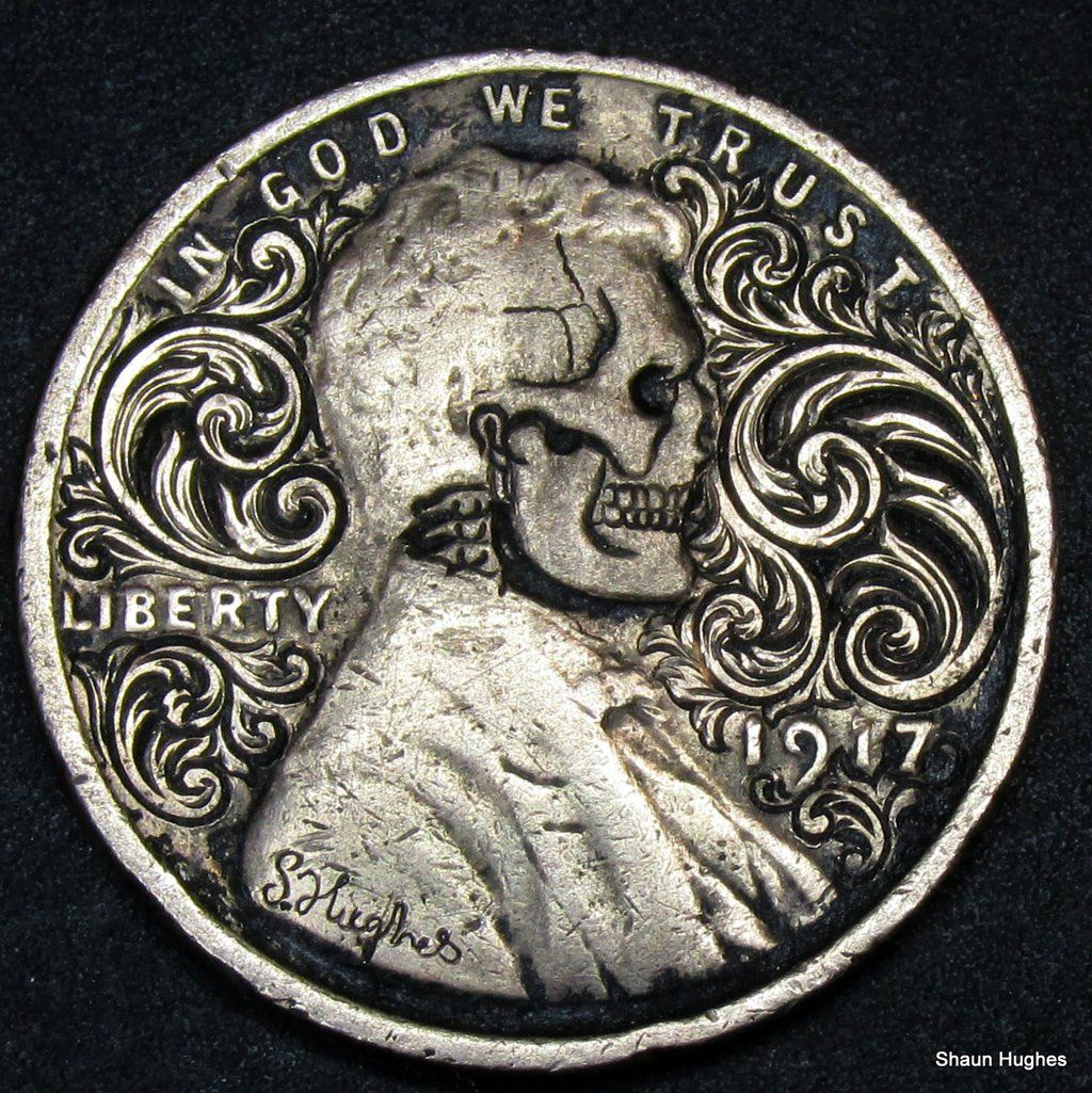 Lincoln 1 Cent Skull Scrollwork By Shaun Hughes By Shaun750
