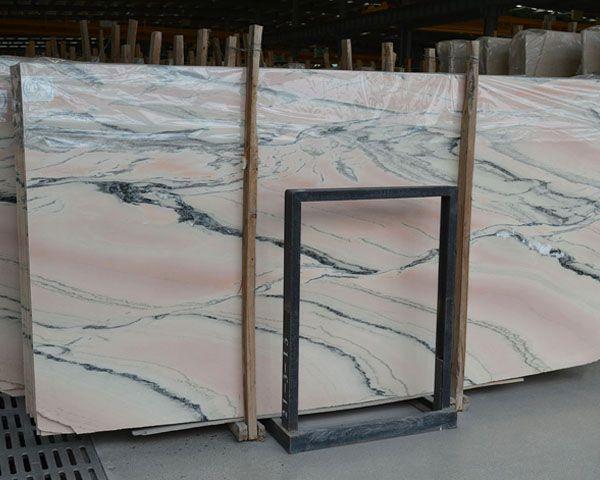 Italian Grey Wavy Grain Pink Marble Stone Slab Natural Marble