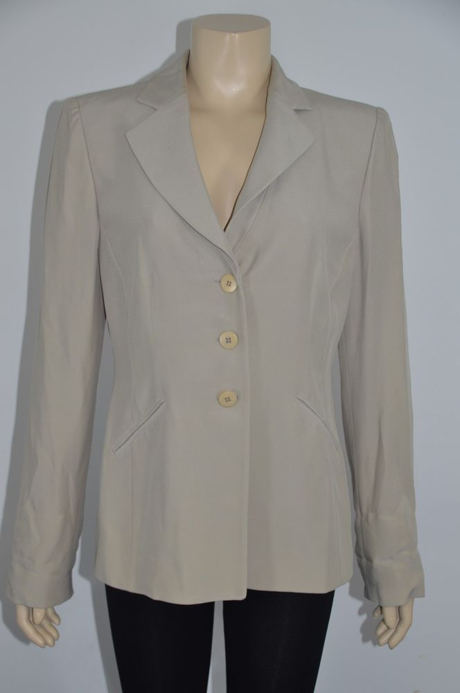 ARMANI COLLEZIONI Made in Italy Beige Women's Jacket Size 12 On Sale hk #ArmaniCollezioni #BasicJacket