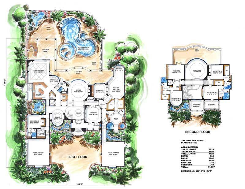 Luxury House Plans Mediterranean Design Wdg F2 7123 14733 Tuscany House Tuscan House Plans Luxury House Plans
