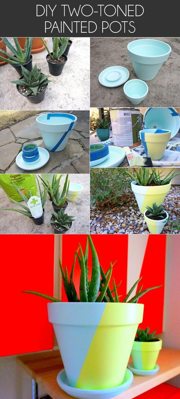 Two Tone Painted Pots Fancy Diy Project Painted Pots Painted Flower Pots Pot Designs