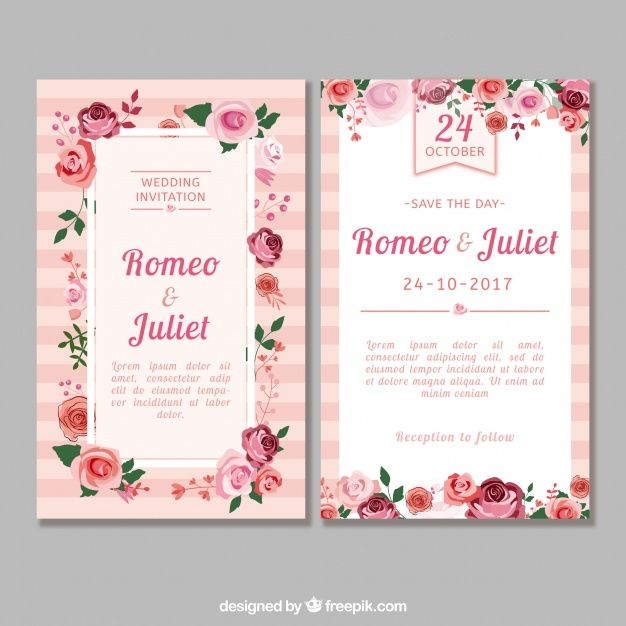 Flat Wedding Invitation With Roses Simple Wedding Cards Floral Wedding Invitation Card Wedding Card Messages