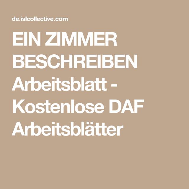 EIN ZIMMER BESCHREIBEN Arbeitsblatt - Kostenlose DAF Arbeitsblätter ...
