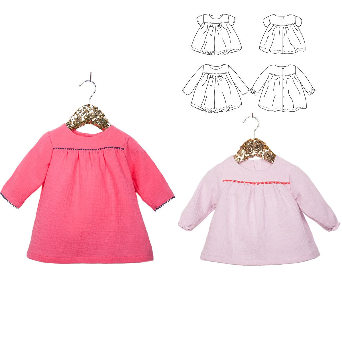 Oslo DUO blouse & dress - Baby Girl 6M/4Y-PDF Sewing Pattern ...