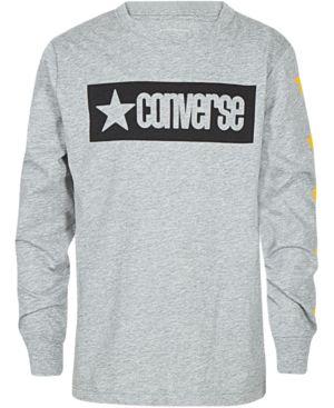 c5f7f716fdb21c Converse Big Boys Vintage-Style Logo Graphic Cotton T-Shirt - Gray L (16 18)