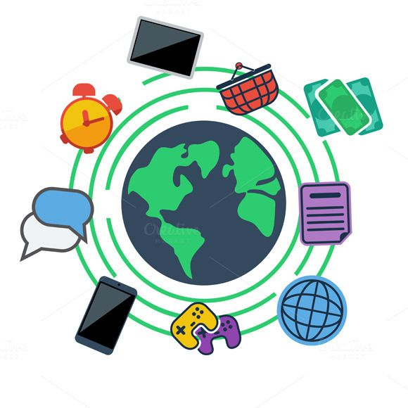 Check out Earth surrounded web, social by robuart on Creative Market