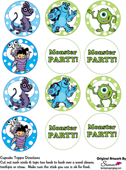 monsters inc. baby shower | Cupcake Toppers, Monsters Inc, Party Decorations - Free Printable ...