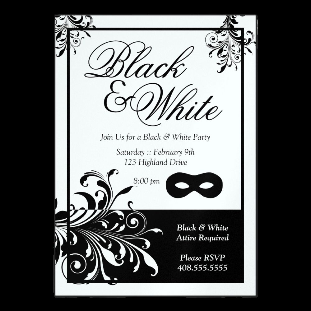Coolnew Create Black And White Party Invitations Printable