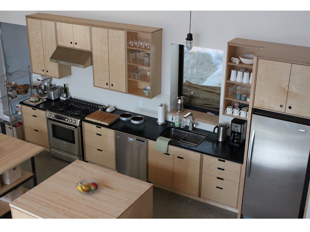 Plywood cabinet fronts cut out handles stain and wax for Birch veneer kitchen cabinets