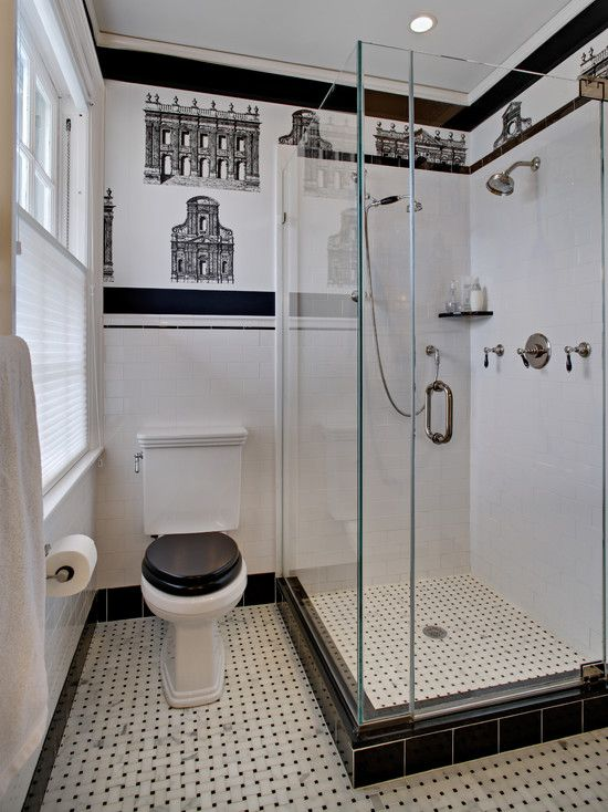 Bathroom Design, Traditional Black And White Bathrooms Ideas With Classic  Toilet Also Cool Glass Door