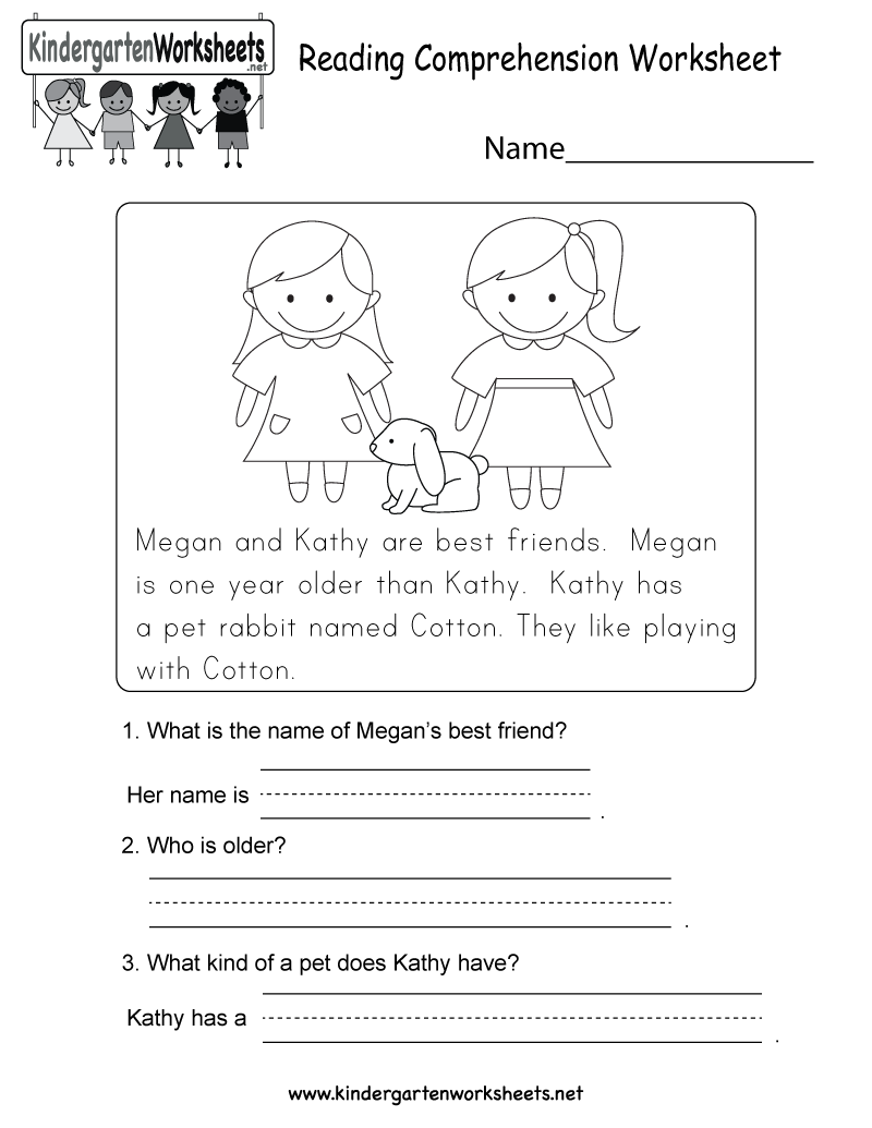 Worksheets Reading Comprehension Worksheets For Adults this is a cute reading worksheet for kindergarteners you can comprehension free kindergarten english kids
