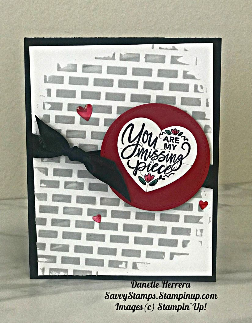 masculine valentine's card using love you to pieces stamp
