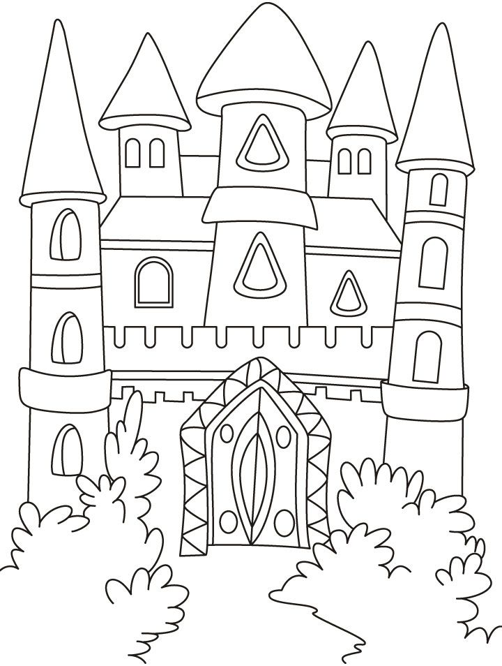 A Magical Castle In The Forest Coloring Pages