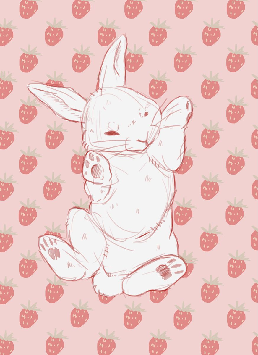 Strawberry Rabbit By Mayclair Redbubble Bunny Wallpaper Bunny Drawing Art