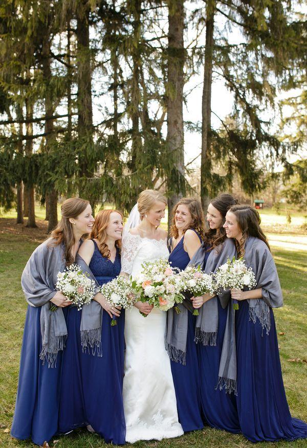 Great Navy blue bridesmaid dresses grey shawls winter wedding Sabrina Nohling Photography