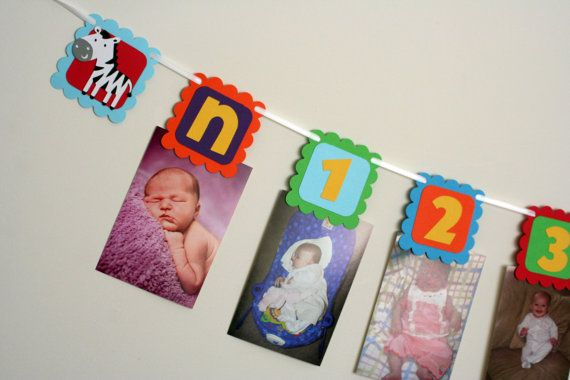 Jungle or Circus Animal First Year photo banner, first birthday photo clips, colorful and fun via Etsy