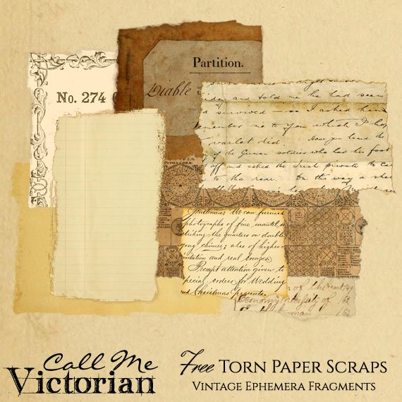 Free Torn Paper Scraps Vintage Ephemera Fragments And Backgrounds 8 Images Total Call Me Victo Vintage Paper Vintage Ephemera Digital Scrapbooking Freebies