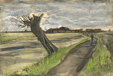 1882 watercolour of a pollard willow from Vincent van Gogh's early Dutch period